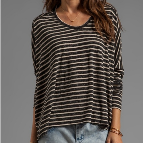 We The Free Tops - Free People Pandora's Striped Boxy Tee in Black